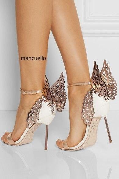 Novo design brilhante paillette borboleta stiletto saltos vestido sandálias na moda feminina linha fivela estilo vestido sapatos sandálias únicas - 2