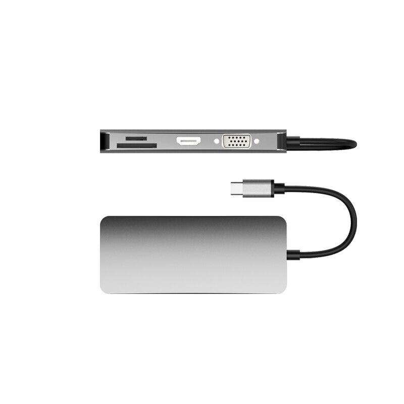 Basix T8 8 en 1 type-c à USB2.0x2 adaptateur de moyeu de Type-Cx1 lecteur de carte SD Micro SD RJ45 VGA pour ordinateurs et téléphones à canal type-c - 3
