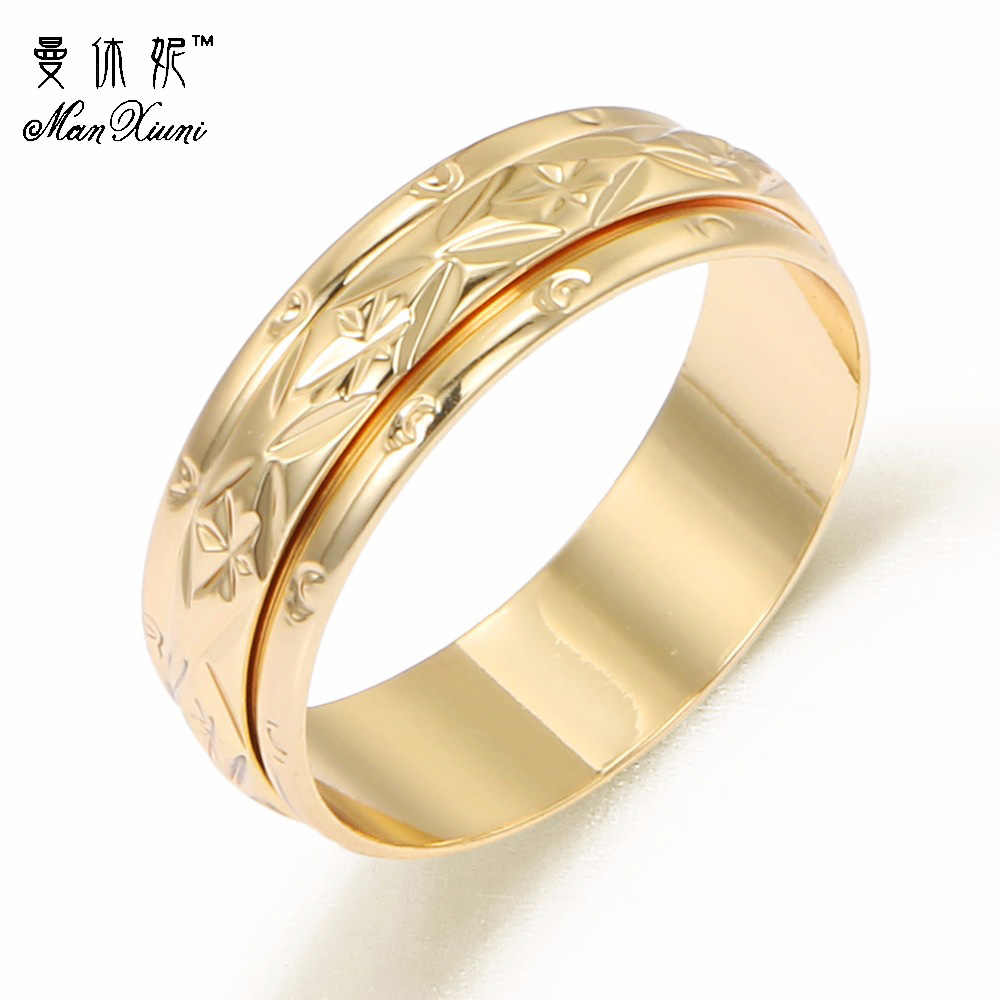 5-10 Size Korean Fashion Rose Gold Rotate Female Tail Ring Finger Steel Wedding For Women Jewelry Gift ZA8046