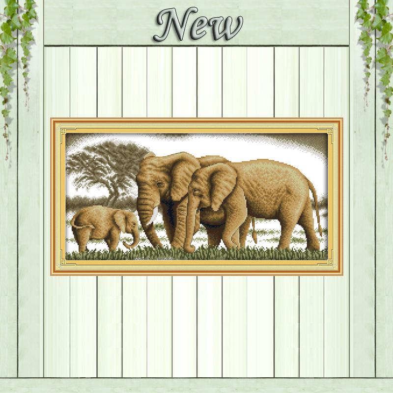 A Happy Family Elephant Paintings Counted Printed On