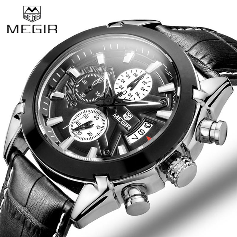 Prix pour Megir Calendrier Chronographe Militaire Montres Hommes Mode Casual Sport Véritable Bracelet En Cuir Montre Temps Horloge Relogio masculino