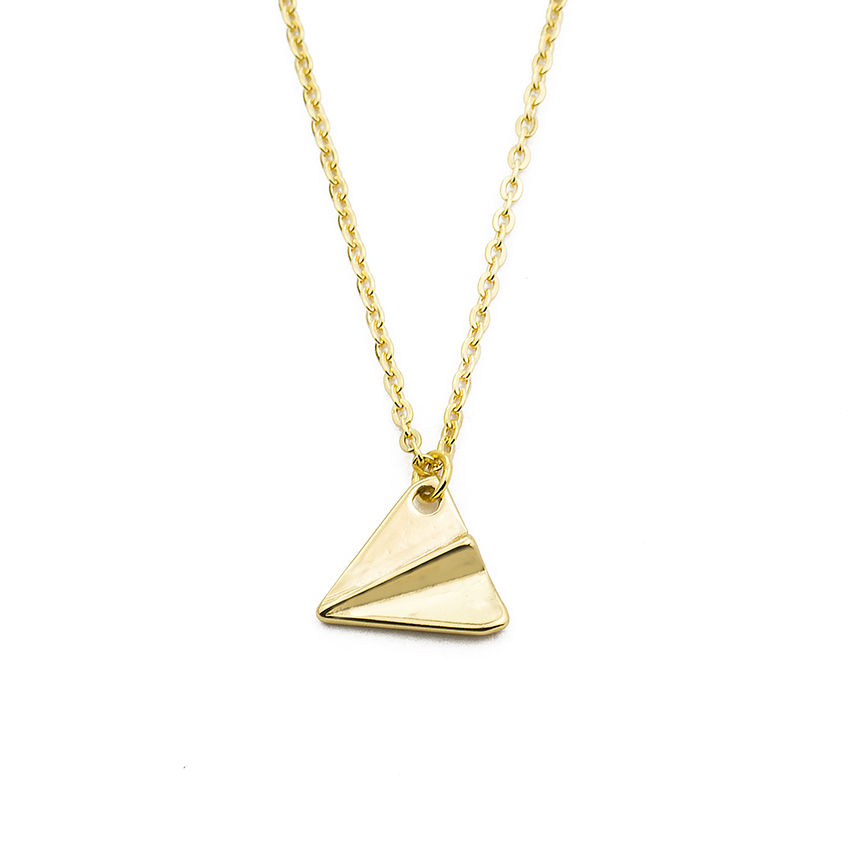 10PCS Fashion Vintage Handmade Dainty Origami Plane Pendant Necklace For Women's Gold Silver Color Small Flying Airplane image