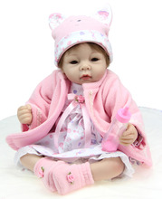 22″ Real Look Reborn New Baby Alive Silicone Girl Collectible Doll with Winter Kits Handmade Kids Playmate Toys Gifts