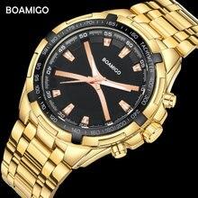 BOAMIGO Marke Männer Uhren Mode Sport Quarzuhr Für Mann Luxus Stahl Band Armbanduhren Männlich Uhr Relogio Masculino