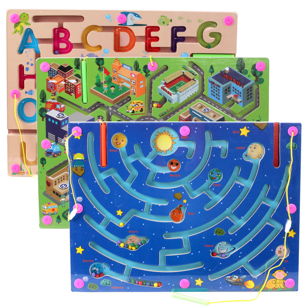 Wooden Maze Puzzle Game Magnetic Bead Pen Alphabet City Road Planet Track Labyrinth Board Educational Toys Children Kids Gift