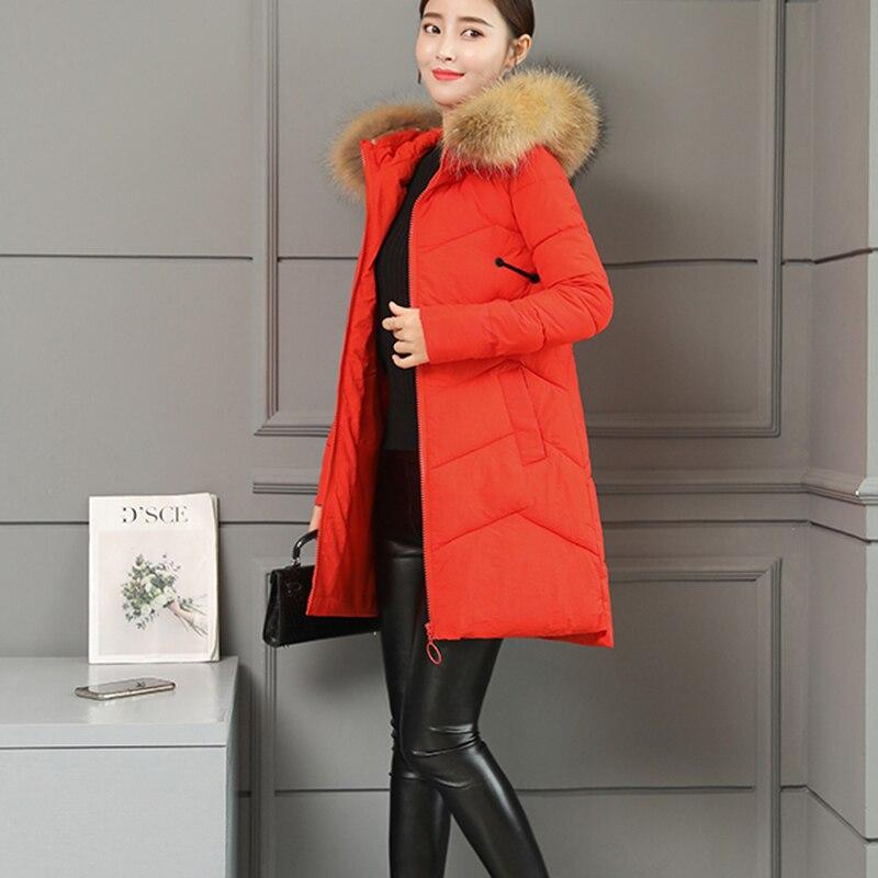 2019 yellow Femme Grande En Nouvelle Coton Solide Capuchon graygreen black À Manches Embroidered Longues Red Femmes Col Fourrure orange Manteau Taille Mode Nuw157 Couleur Long Moyen De dxeBoC