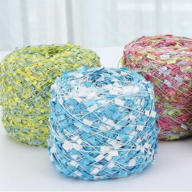 1 Skein 100 գրամ պոլիեսթեր ներկված հատուկ Գույնզգույն դրոշի գծի նորաձևություն Գույնզգույն Tassel Yran խառնուրդը 400 մետր