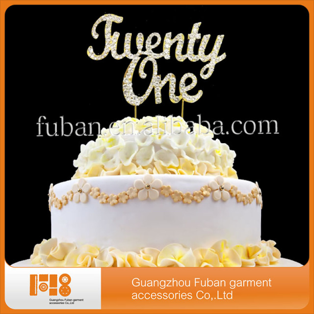 Gold Twenty One 21st Birthday Rhinestone Cake Topper Stand Wholesale For Happy Designs Free Shipping 20 Pieces Lot