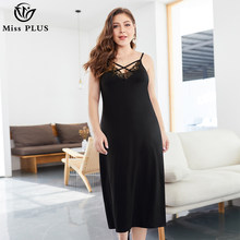 Women Plus Size Sexy v-neck elegant Dress Solid Color black lace Party Night off shoulder long dress woman Summer casual Clothes(China)