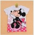Dos desenhos animados minnie 100% algodão de verão de manga curta camisa da senhora