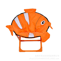 Kid Backrest Washable Chair Baby Oxford Cotton Chair Small Bench Cartoon Fish Small Chair Multifunction Foldable