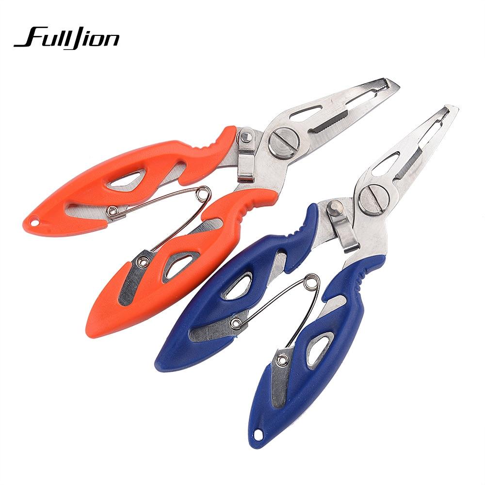 Fulljion متعددة الوظائف كماشة الصيد القبضات استخدام مقص الخط القاطع مزيل هوك للطي أدوات معالجة الفولاذ المقاوم للصدأ
