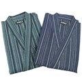 Пижамы Мужчины Кимоно Пижамы Набор Халат Полосой 100% Хлопок Пижамы Пижамы Мужчин Гостиная Пижамы Набор