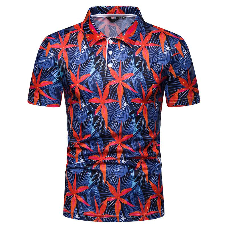 Plant flower   Polo   Shirt Men Hawaiian beach style Men's Clothing Summer Tops Tees Men   Polo   Shirt Casual New