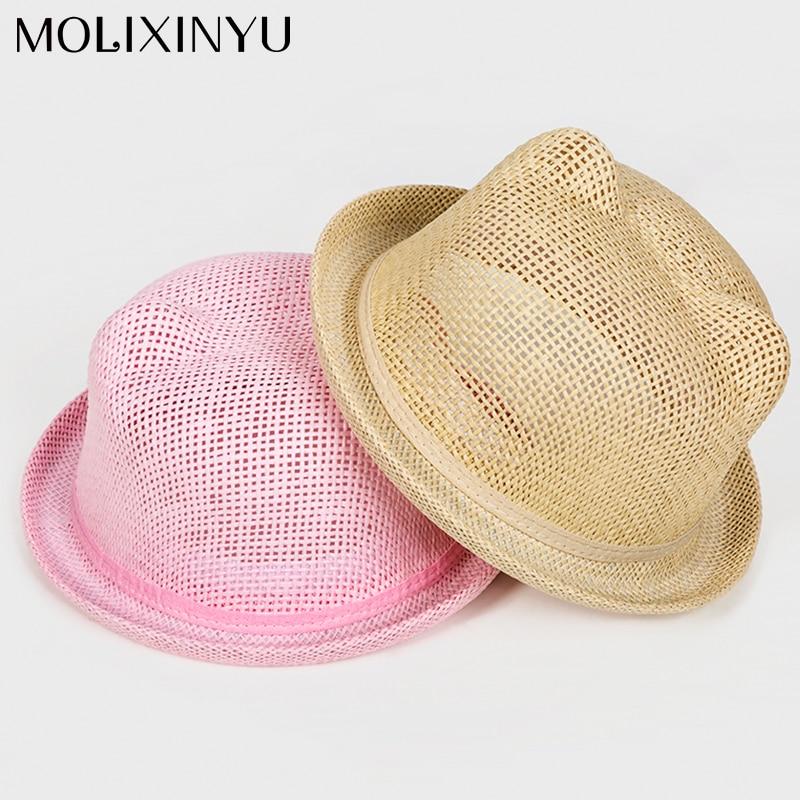 Molixinyu Baby Cap Girls Straw Hat Cute Ears Children Summer Cap For Girls/boys Bucket Hat Baby Boys Beach Caps Sun Baby Hat Mother & Kids