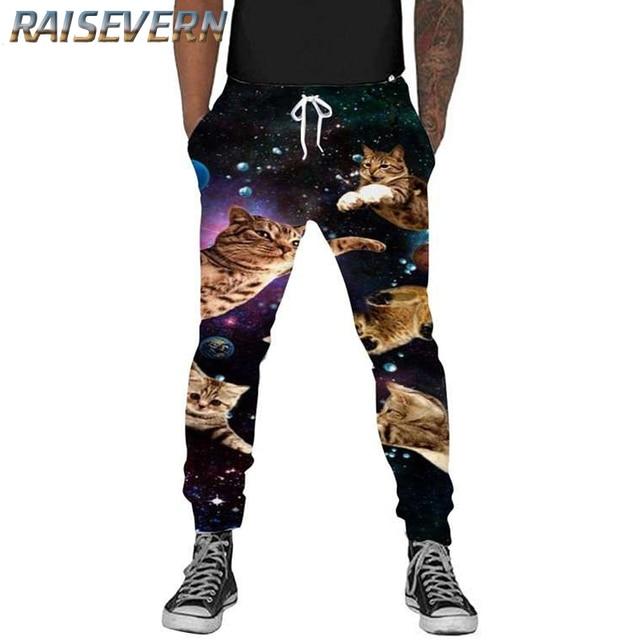 8c4fd6933ee3 RAISEVERN Galaxy Przestrzeń Cat Śmieszne Biegaczy Spodnie męskie Spodnie  spodnie Dresowe Spodnie Jesień Zima W Stylu