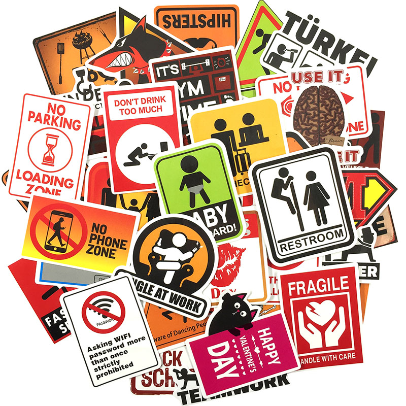 Image 2 - 50 pcs Warning Sign Sticker wallpaper Decal Motorcycle Fridge Skateboard Doodle Funny Stickers for Auto Laptop Trunk Car-in Stickers from Toys & Hobbies