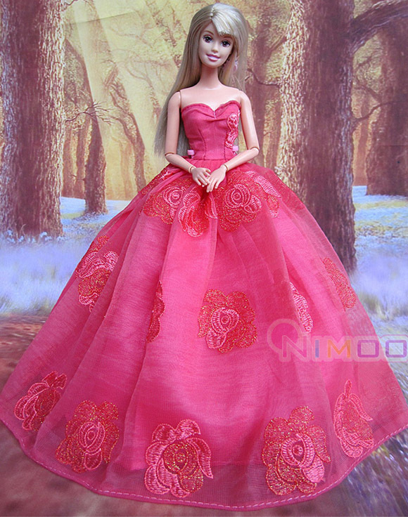 Hot red for barbie dress Wedding Dress Party Clothes Gown for barbie ...