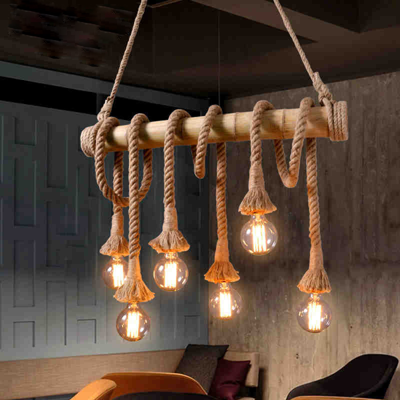 Vintage Bamboo rope Pendant Lamp Retro Countryside wicker Pendant Lights With 4/6 Lights For Dinning Room Living Room|Pendant Lights|   - title=
