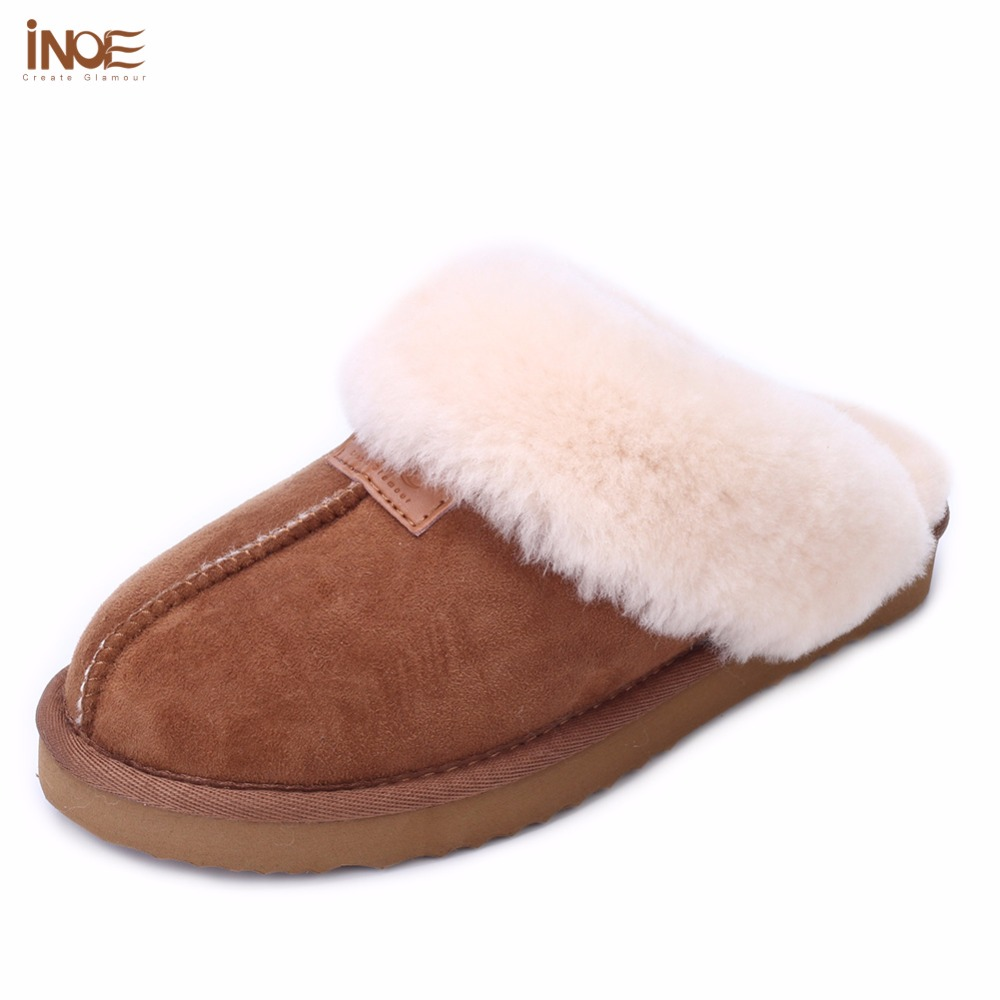 INOE sheepskin leather fur lined women home shoes winter suede slippers indoor house shoes for woman half slippers high quality plush winter slippers indoor animal emoji furry house home with fur flip flops women fluffy rihanna slides fenty shoes