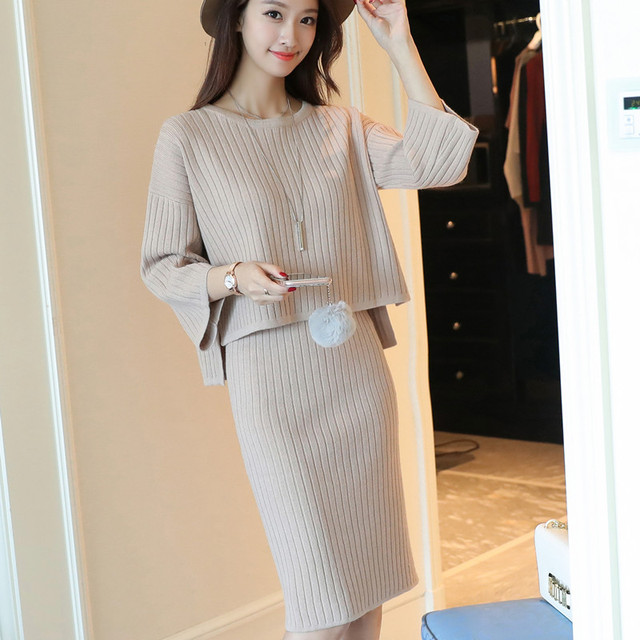 f622fbc4df1f autumn new style suits ladies korean fashion knitting sweater skirt 2 pcs  set pullovers sweaters knitwear outside girl casual