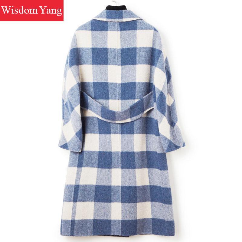 Manteau Bleu Cachemire Manteaux Plaid De Femmes Femelle Pardessus Alpaga Plus Laine Coat Élégantes Blue Femme Hiver Dames Longue Mouton Survêtement 34qAj5RL