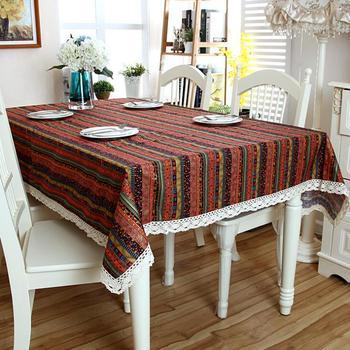 Europäische Rot Boho Spitze Tischdecke Geometrische Böhmischen Esstisch Tuch Mit Spitze Baumwolle Und Leinen Multi Größen Lacy Tisch Abdeckung