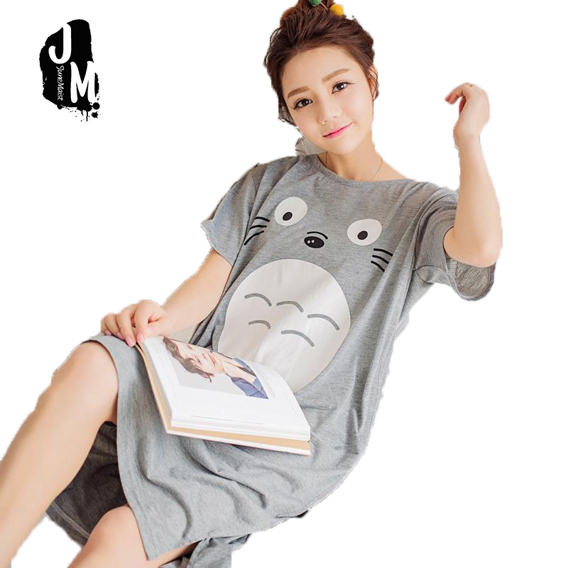 2017 Summer 100% Cotton Women Printed Nightgown Female Casual Outwear Lady Pockets Sleepshirt Girl Pijama Home Clothing Size 3XL
