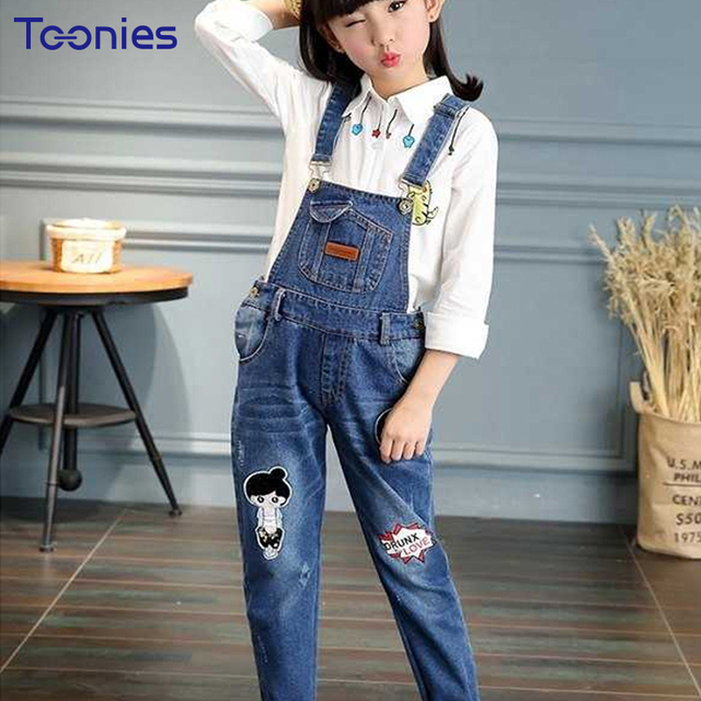 36b75ca94 US $24.99  Girls Suspenders Trousers Fashion Kids Overalls Casual Student  Denim Pants Children Waterproof Girl Overall High Quality Clothes-in ...
