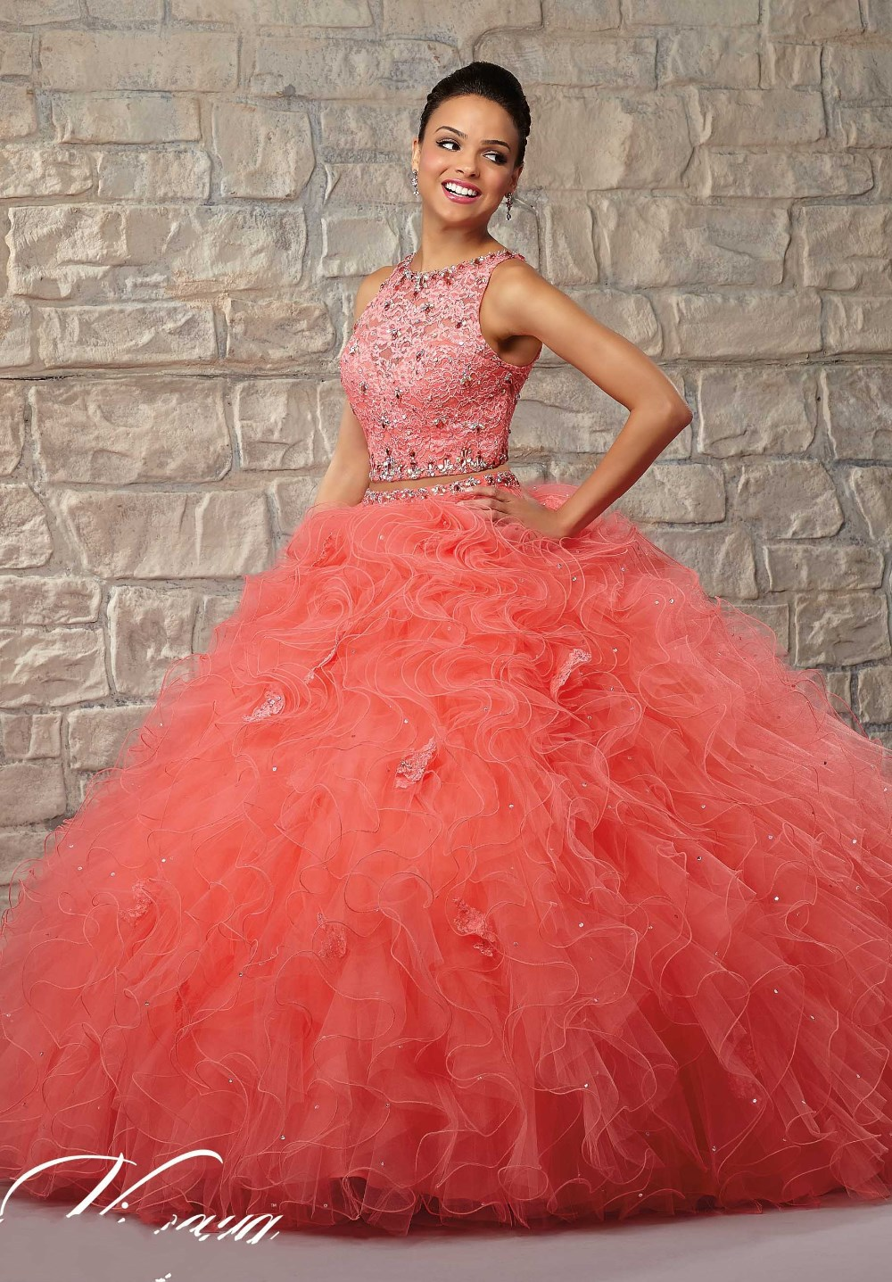 2b8ed71ce95 wejanedress 2017 2 Piece Coral Quinceanera Dresses vestido de 15 Debutante  Gowns Sweet 16 Ball Gowns Puffy Quinceanera Gowns
