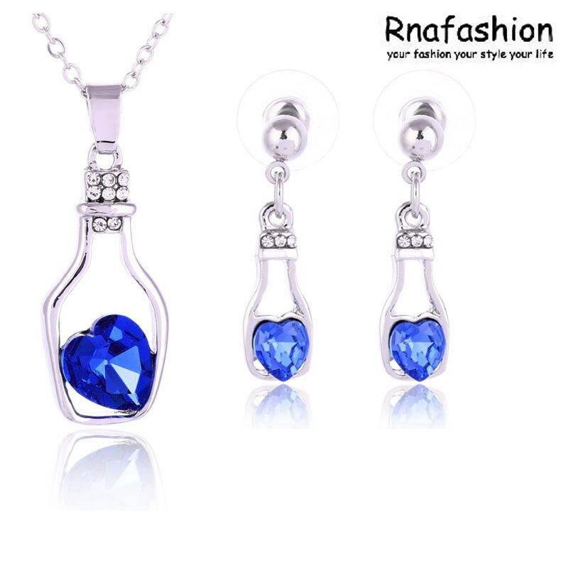 No Minimum Order Jewelry wholesale Austrian crystal jewelry earrings + necklace jewelry sets - love drift bottles 093