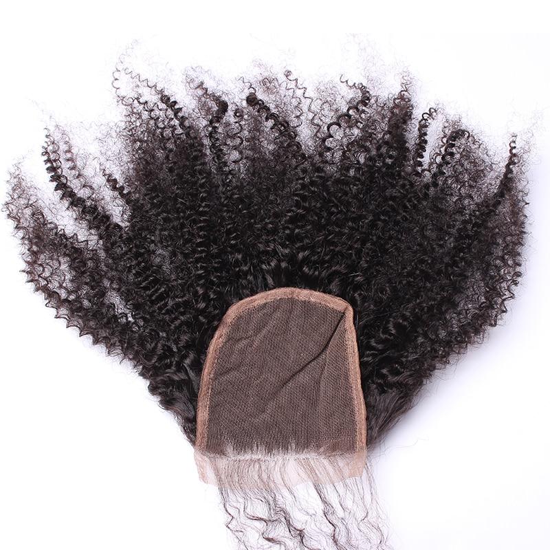 Afro Kinky Bouclés Dentelle Fermeture Avec Bébé Cheveux 4B 4C 100% - Cheveux humains (noir) - Photo 5