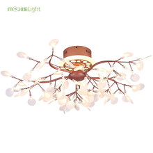 Mooielight Remote Led Chandelier Light Tree Leaf Firefly Chandelier Pendant Ceiling Lamp For Living Room Dimming Lustre Fixture(China)