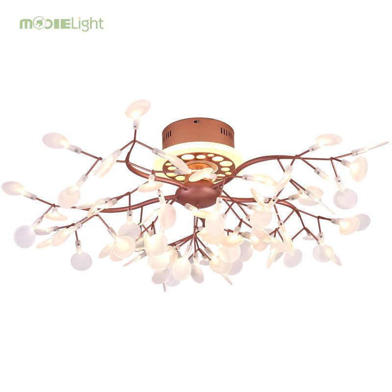 Mooielight Удаленная светодиодная люстра Дерево лист люстра Светлячок подвесной потолочный светильник для гостиной затемнение светильник