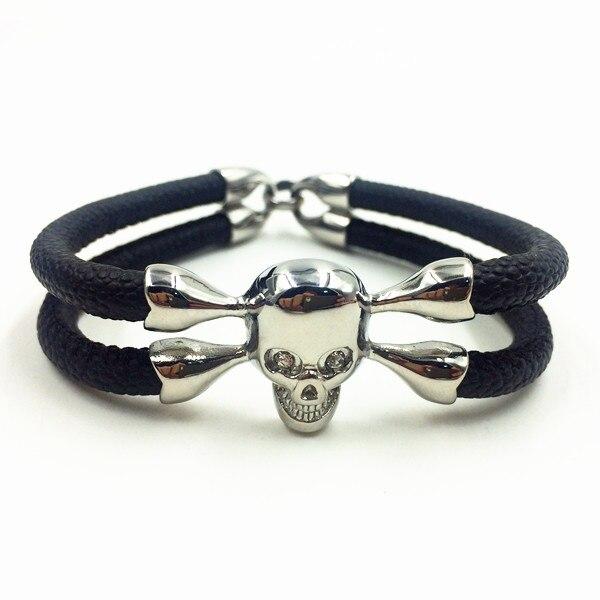 Luxury Stingray Bracelet Plated Skeleton Skull Head Blue Red Stainless Steel Charms Bracelet