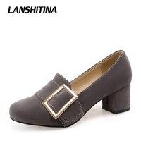 LANSHITINA Große Größe 33-47 Fashion Square Kopf Schuhe Dicken Absätzen Frauenpumpen Wildleder Frühling Sommer Schnalle High Heel schuhe G829
