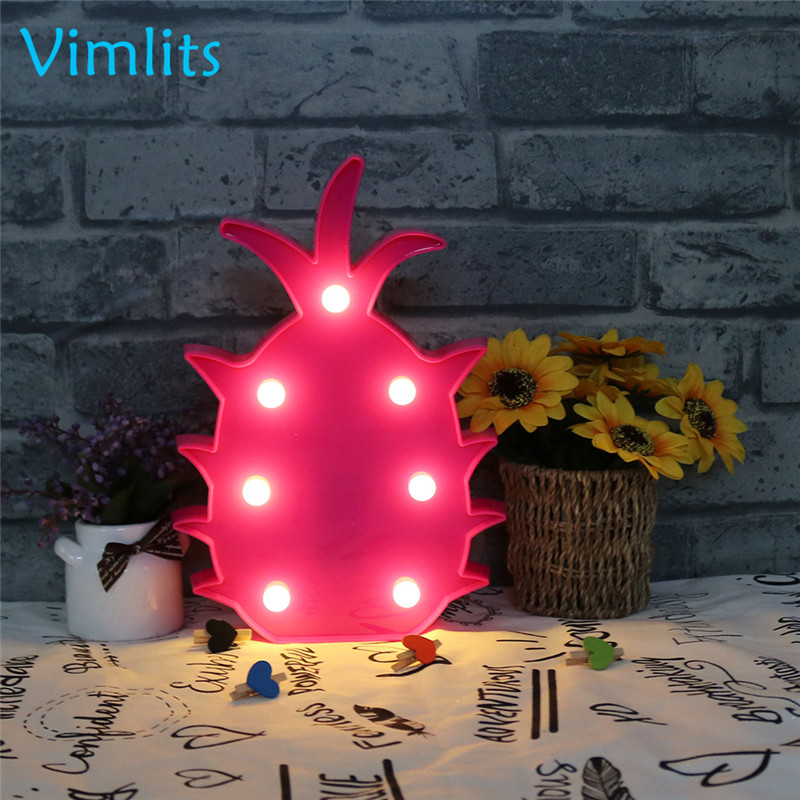 Vimlits LED Night Light Kids Marquee Lamp Pitaya Shape Signs Light Up Christmas Party Wall Decoration Battery N010