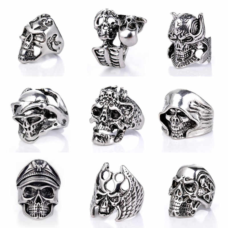 Men Hip hop Ring Gothic Punk Skull Rings For Men Fashion Retro Male Ring jewelry Halloween Accessories Anillo Hombre