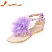 KARINLUNA Wholesale Large Size 33 43 Bohemia Style Ankle Beading Women Shoes Summer Sandals Soft Big Flower Beach Woman Shoes
