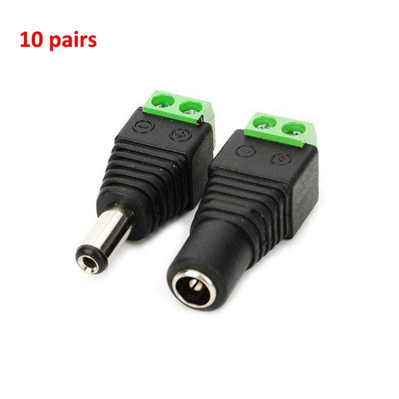 10 Pairs DC Power Male And Female Jack Adapter Plug Free Welding DC Male Female Head For CCTV Camera DVR Free Shipping