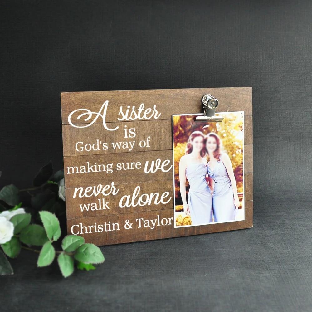 Rustique de bons amis Hanging Photo Cadre en Bois Plaque Signe idée cadeau
