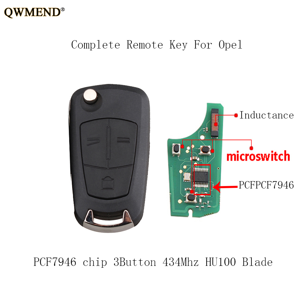 3 Button Remote Key Fob 434MHZ For Opel-Vauxhall Vectra Signum 2003-2005