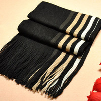 Winter Knitted Scarf Man Hot Sale Unilateral Striped Knit Scarves Men Show Charm Desigual Warm Scarf