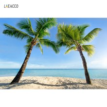 Laeacco Tropical Palm Tree Sea Beach Sand Blue Sky Baby Holiday Scenic Photo Backgrounds Photographic Backdrops For Studio