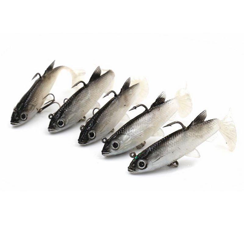5Pcs Hot Sale !! Leurre Souple Soft Lure Carp Fishing tackle Fishing wobblers Artificial Bait Pike Lure 4 colors 14G 8.6CM-in Fishing Lures from Sports & Entertainment