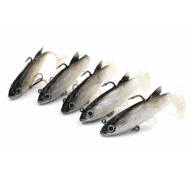 5Pcs Hot Sale !! Leurre Souple Soft Lure Carp Fishing tackle Fishing wobblers Artificial Bait Pike Lure 4 colors 14G 8.6CM