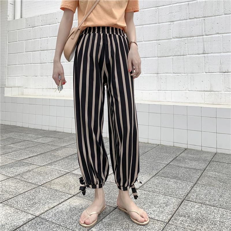 Hiawatha Summer Chiffon High Waist Radish Pants Women Fashion Dot Ankle-Length Pants P1035 31