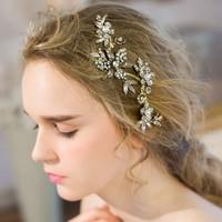 Thanh lịch Wedding Bridal Tóc Combs Nón Bán Buôn Pha Lê Rhinestone Jewelry Phụ Kiện Vàng Màu Mũ Sắt cho Phụ Nữ Bên