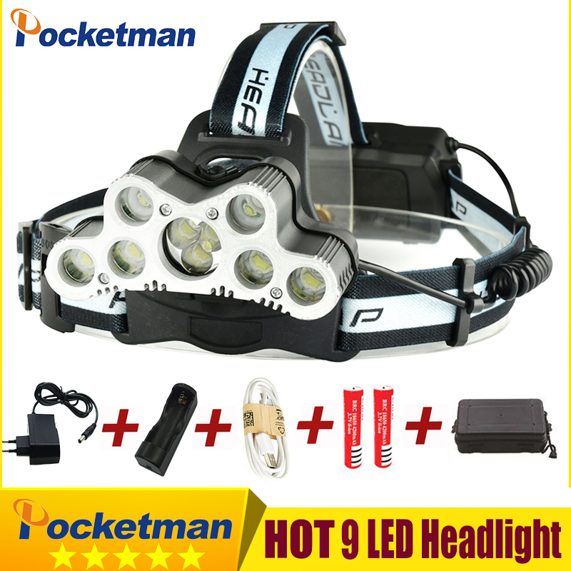 Super Bright USB 9 LED Led Headlamp Headlight head flashlight torch XM-L T6 head lamp rechargeable for 18650 battery super 15000lm usb 9 cree led led headlamp headlight head flashlight torch cree xm l t6 head lamp rechargeable for 18650 battery