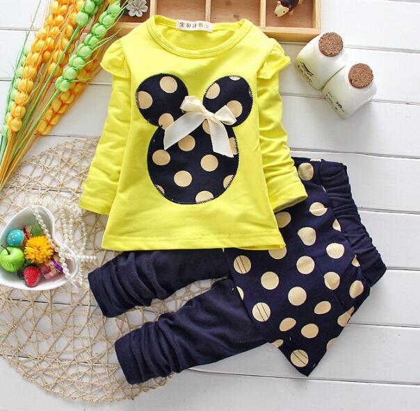 2pcs New Girls Clothes Minnie Mouse Sets Cartoon Casual Tracksuits Sports Suit